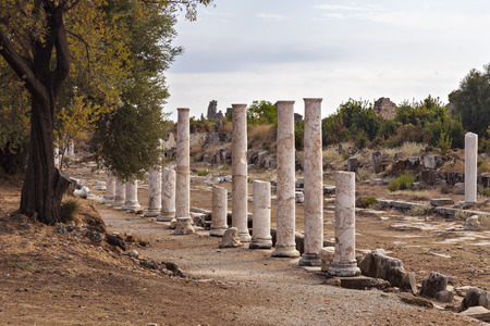 colonnaded: Image of a colonnaded street amongst the ancient ruins. Side, Turkey.