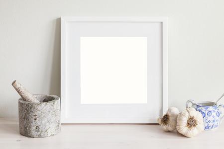 pestel: Image of kithen themed white frame mockup.