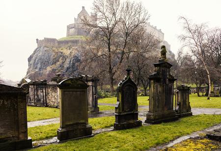 Image of Victorian graveyard below the castle in Edinburgh, Scotland.