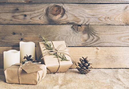 Image of rustic christmas scene. Stock Photo