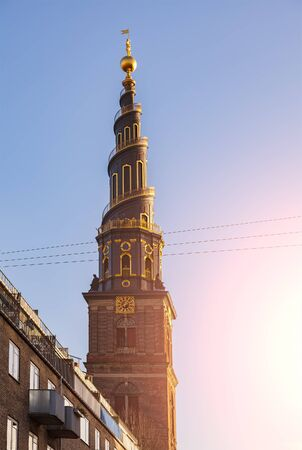 Image of the spiral steeple of church of our saviour in Copenhagen, Denmark.