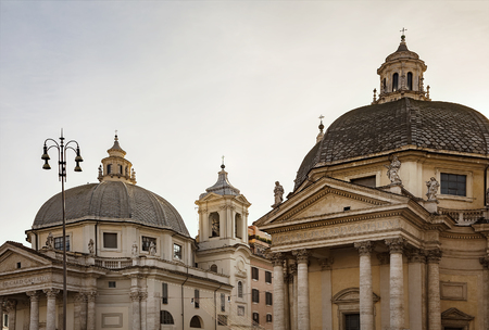 Two churches by Piazza del Popolo in Rome, Italy.