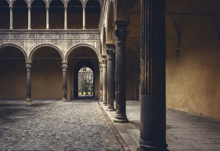 Image of a courtyard in the city of Bologna, Italy. Stok Fotoğraf