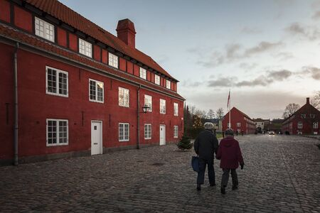 COPENHAGEN, DENMARK - DECEMBER 24, 2016. The red architecture and cobbled streets of the citadel. Editorial