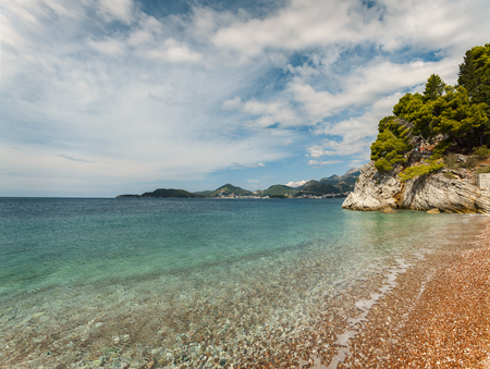 Image of coastal landscape by the adriatic sea. Sveti Stefan, Montenegro. Stock Photo