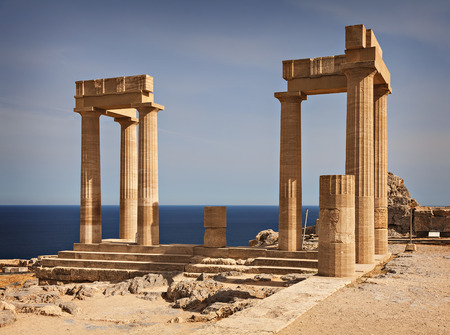 Temple remains in Lindos. Rhodes, Greece.