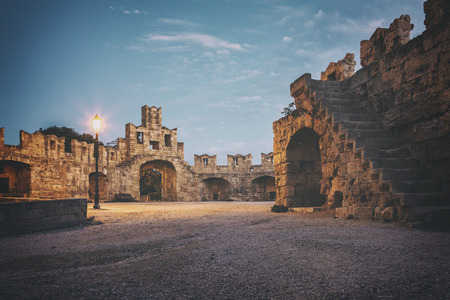 Historic gate to old town in Rhodes town, Greece.