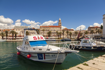SPLIT, CROATIA: MAY 13, 2018 Coast guard boats in the harbour.