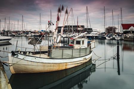 HELSINGBORG RAA, SWEDEN: DECEMBER 13, 2018. Fishing boat in the village harbour.