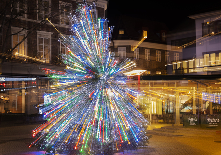HELSINGBORG, SWEDEN: DECEMBER 5, 2018. Christmas tree in a square, with light trails.
