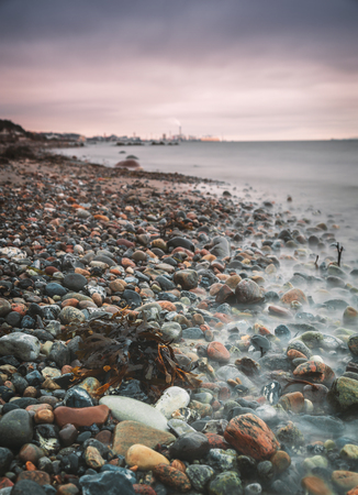 Pebbled beach in Larod, Helsingborg, Sweden.