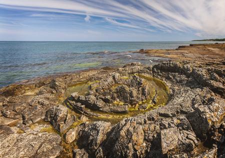 Rocky coastline in Vik, Sweden.
