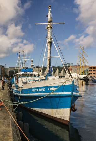 HELSINGOR, DENMARK; MARCH 24, 2019. Fishing vessel Antares waits for tour customers in the harbour.
