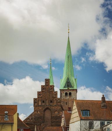 Historic architecture in the city of Helsingor, Denmark.