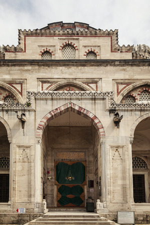 The grand entrance of Sehzade mosque in Istanbul, Turkey. Banco de Imagens
