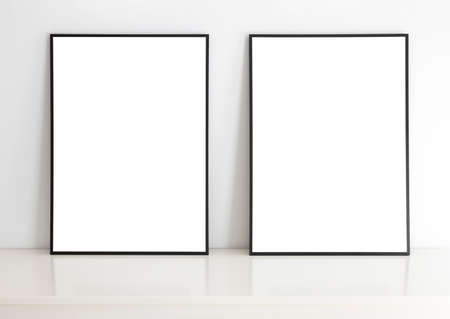 Empty frames for mock up, with white passepartout, standing portait mode.