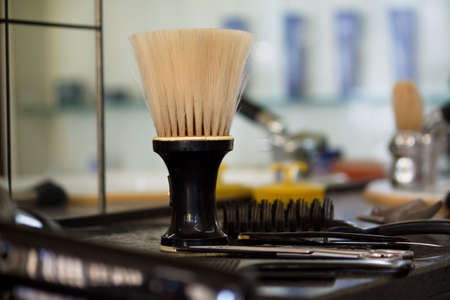 hairdressers: Barber salon. Hair cutting equipment  Stock Photo