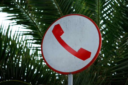Antique phone sign in italy  Stock Photo - 7231462