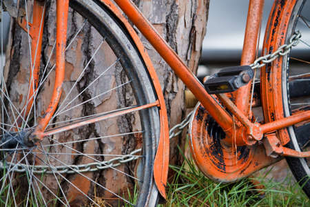 Old orange bike  Stock Photo