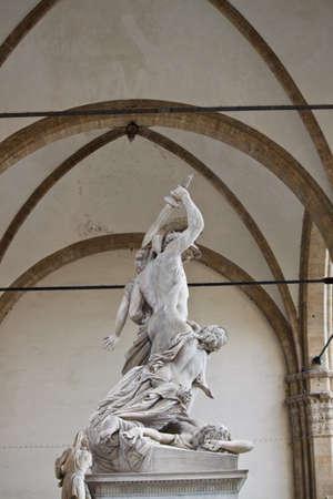 Sculpture rape of the sabine women by giambologna, in piazza della signoria in florence italy