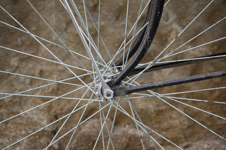 Macro picture of bicycle spokes  Stock Photo
