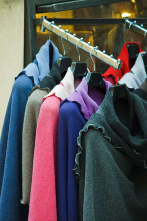 Clothes rack in a street clothes shop Stock Photo - 7453814