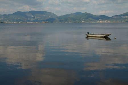 Boats on Lake Massaciuccoli. ViareggioTuscany, Italy