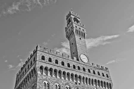 Palazzo Vecchio on Piazza della Signoria in Florence Tuscany   Stock Photo