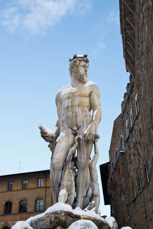 Statue of Poseidon on top of the Neptune Fountain by Amannati