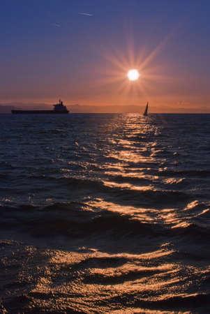 bateau de course: l'itin�raire Banque d'images