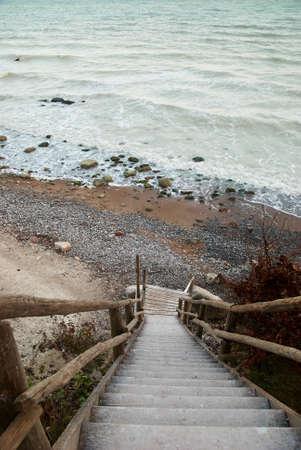 chalky: Wooden stairway chalky sea Ruegen