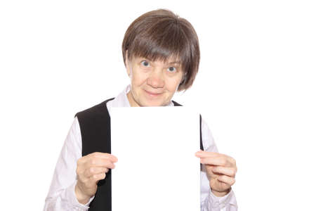stringent: teacher with a sheet of white paper