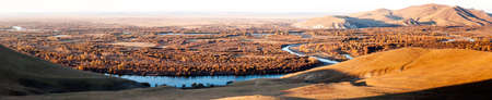 wetlands: Genhe River wetlands (panorama) Stock Photo