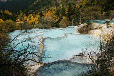 calcification: China Huanglong calcification pool of sichuan Stock Photo