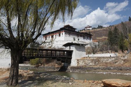 Rinpung Dzong Buddhist Monastery near Paro, Bhutan, and famous bridge.