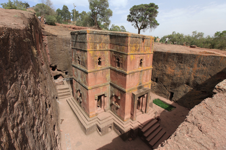 Ethiopian orthodox church, hewn from the rocks - the saint George - in Ethiopia, Africa. Editorial