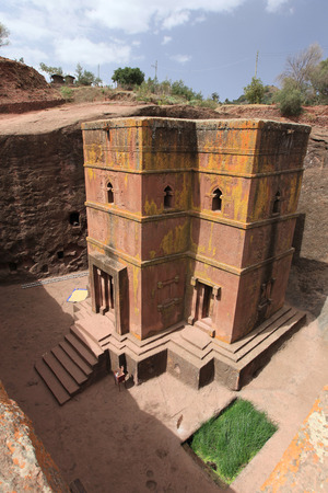 ethiopian famous Orthodox church, hewn from the rocks - the saint George - in Ethiopia, Africa. Editorial