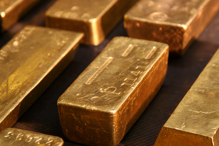 goldbar: bars or real and pure gold, at a central banking