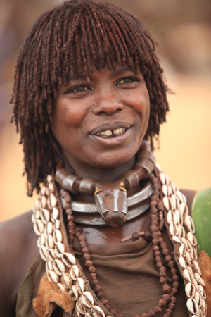 traditional tribal woman in Africa, Hamar tribe Ethiopia