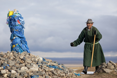 mongols: Mongolian shepherd offering at a sacrificial site