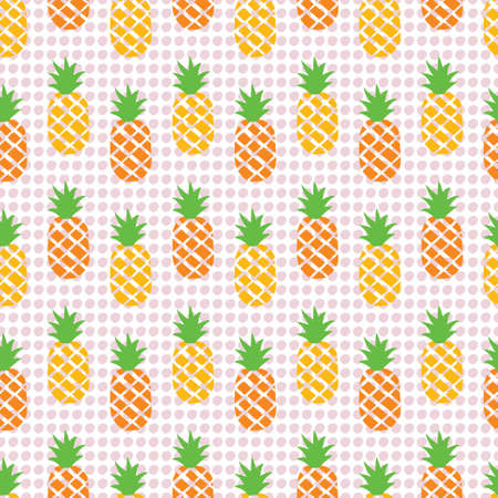 Pineapple pattern with dots. A playful, modern, and flexible pattern for brand who has cute and fun style, It can use for background, print, card, website, and anything. The art vector graphic can be repeated. Pineapple and dots elements give a contrast and cheerful mood.