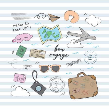 Voyage avion et bagages doodle set. Collection de jeu de griffonnage ludique, mignon et flexible pour une marque qui a un style amusant. Banque d'images - 96856961