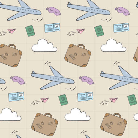 Doodle travel pattern with airplane, suitcase, and passport. Playful, cute, and flexible
