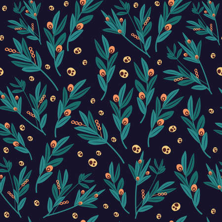 Authentic green leaves seamless pattern on dark background. Иллюстрация