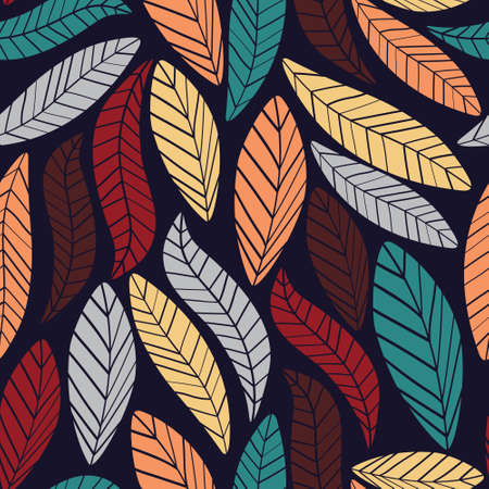 Authentic leaves seamless pattern.