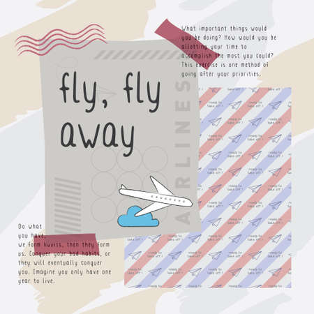 Fly fly away print vector. Playful and unique print with travel theme.