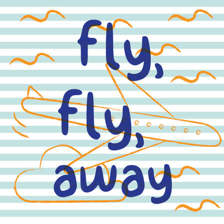 Fly fly away with airplane and stripe background. Playful, cute, and flexible doodle pattern for brand who has fun style. Doodle art suits for kids and traveling theme.