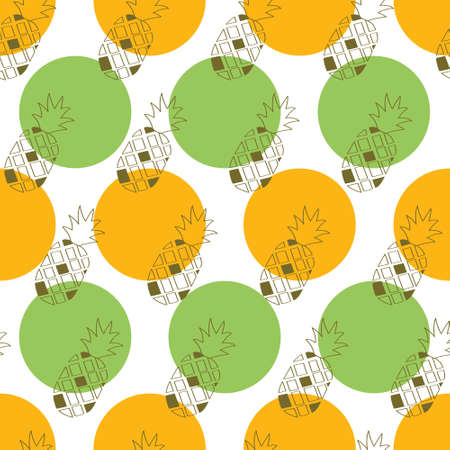 Outline pineapple pattern with bullets background. A playful, modern, and flexible pattern for brand who has cute and fun style. Repeated pattern. Doodle pineapple mix with polka background give a contrast and cheerful mood. Illustration