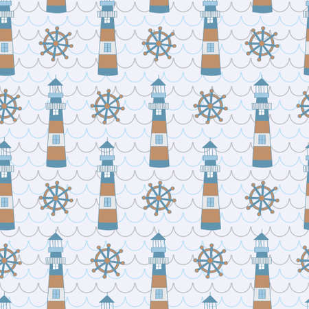 Lighthouse and ship wheel in wave pattern. A playful, modern, and flexible pattern for brand who has cute and fun style.