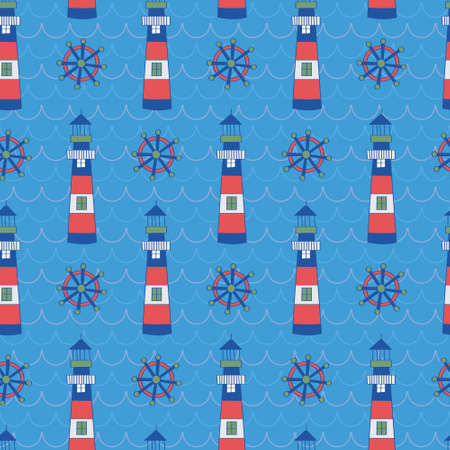 Kids pattern of lighthouse and shipwheel. A playful, modern, and flexible pattern for brand who has cute and fun style.